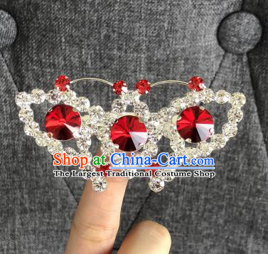 Chinese Traditional Peking Opera Diva Red Crystal Butterfly Brooch Jewelry Accessories Ancient Princess Breastpin for Women