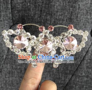 Chinese Traditional Peking Opera Diva Pink Crystal Butterfly Brooch Jewelry Accessories Ancient Princess Breastpin for Women