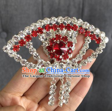Chinese Traditional Peking Opera Diva Red Crystal Fanshaped Brooch Jewelry Accessories Ancient Princess Breastpin for Women