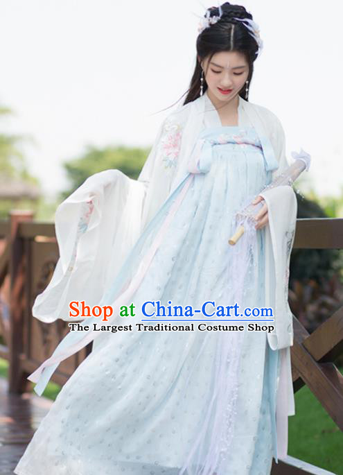 Chinese Tang Dynasty Costumes Ancient Palace Princess Embroidered Hanfu Dress for Women