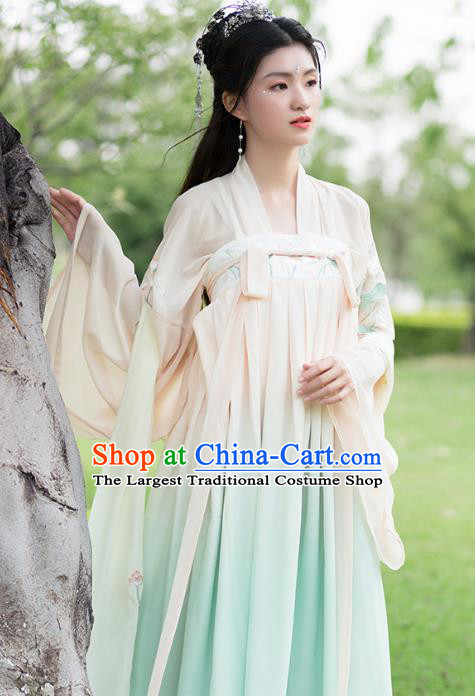 Chinese Tang Dynasty Peri Costumes Ancient Princess Embroidered Green Hanfu Dress for Women