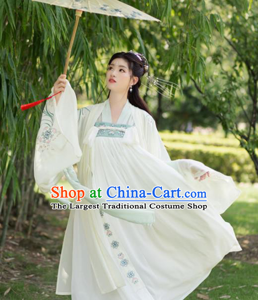 Chinese Ancient Tang Dynasty Peri Princess Embroidered Costumes for Women