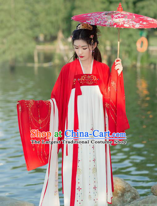 Chinese Ancient Tang Dynasty Imperial Concubine Embroidered Costumes for Women