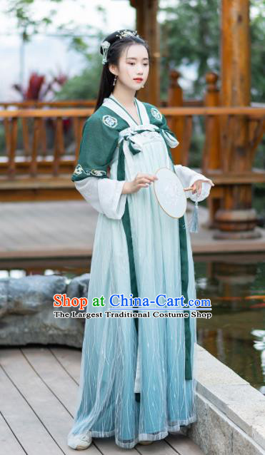 Ancient Chinese Tang Dynasty Palace Princess Costumes Green Hanfu Dress for Rich