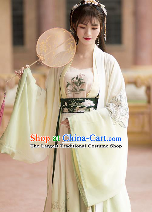 Ancient Chinese Tang Dynasty Imperial Concubine Costumes Embroidered Hanfu Dress for Women