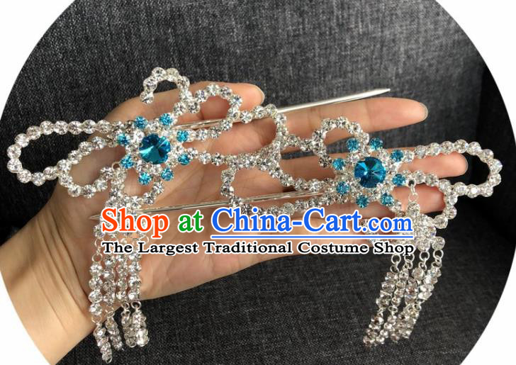 Chinese Traditional Peking Opera Diva Hair Accessories Ancient Blue Crystal Tassel Hairpins for Women