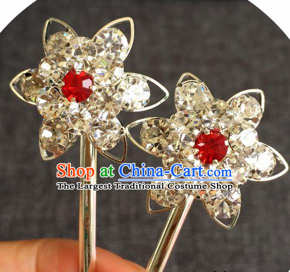 Chinese Traditional Peking Opera Diva Hair Accessories Ancient Red Crystal Flower Hairpins for Women