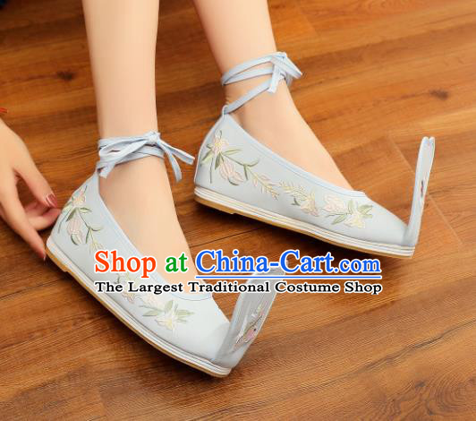 Chinese Ancient Traditional Embroidered Shoes Hanfu Green Cloth Shoes for Women