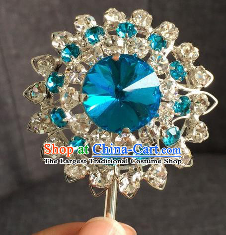 Chinese Ancient Princess Blue Crystal Hairpins Traditional Peking Opera Diva Hair Accessories for Women
