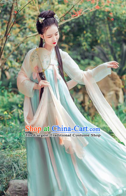 Traditional Chinese Tang Dynasty Princess Costumes Ancient Peri Embroidered Hanfu Dress for Rich