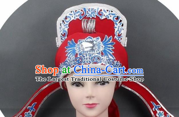 Chinese Ancient Scholar Red Hat Traditional Peking Opera Niche Headwear for Men