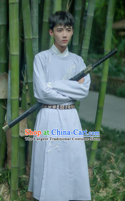 Chinese Tang Dynasty Swordsman Costume Ancient Imperial Bodyguard Round Collar Robe for Men