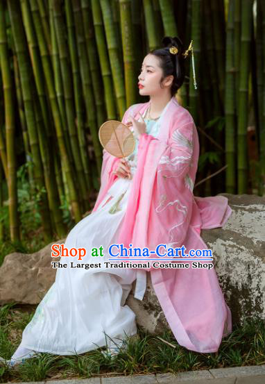 Chinese Jin Dynasty Maidenform Embroidered Pink Wide Sleeve Cardigan Ancient Princess Costumes for Women