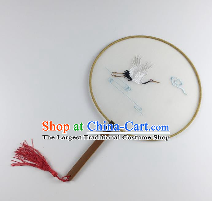 Chinese Ancient Princess Palace Fans Traditional Embroidered Crane Round Fans for Women