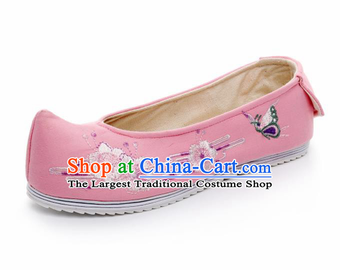 Chinese Ancient Traditional Embroidered Shoes Hanfu Embroidery Peach Blossom Pink Cloth Shoes for Women