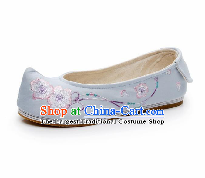 Chinese Ancient Traditional Embroidered Shoes Hanfu Embroidery Peach Flower Blue Cloth Shoes for Women