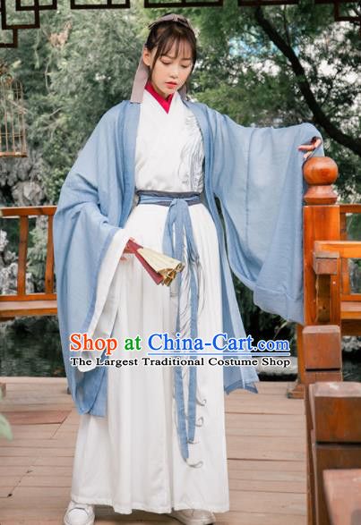 Ancient Chinese Jin Dynasty Swordswoman Hanfu Dress Historical Costume for Women