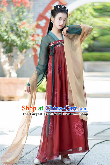 Ancient Chinese Tang Dynasty Historical Costumes Palace Princess Hanfu Dress for Women