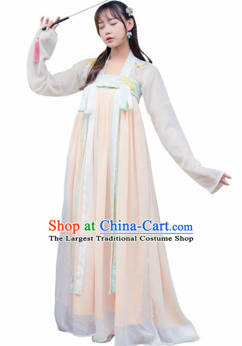 Ancient Chinese Tang Dynasty Historical Costumes Palace Lady Hanfu Dress for Women