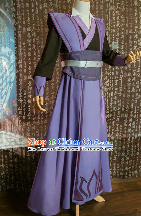 Chinese Traditional Cosplay Nobility Childe Costumes Ancient Swordsman Purple Clothing for Men