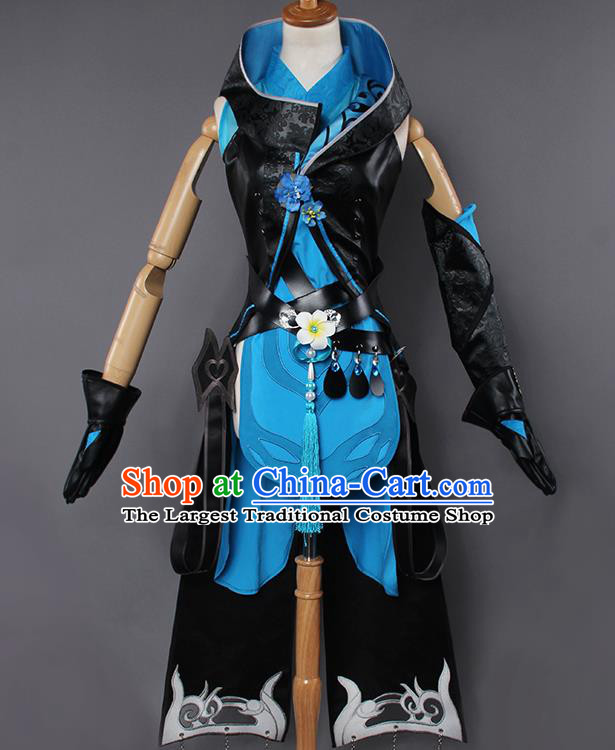 Chinese Traditional Cosplay Kung Fu Instructor Black Costumes Ancient Swordswoman Clothing for Women