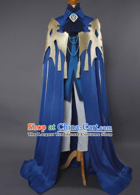 Chinese Traditional Cosplay Swordsman Blue Cloak Ancient Knight Costumes for Men