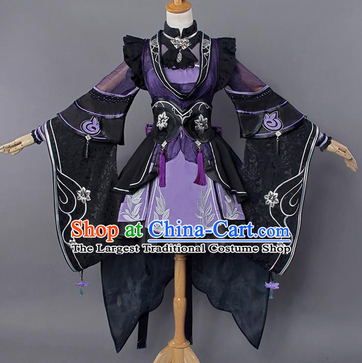 Top Grade Cosplay Princess Purple Costumes Chinese Ancient Swordswoman Dress for Women