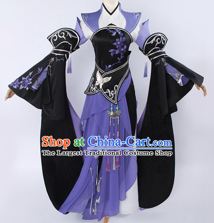 Top Grade Cosplay Princess Costumes Chinese Ancient Swordswoman Purple Dress for Women