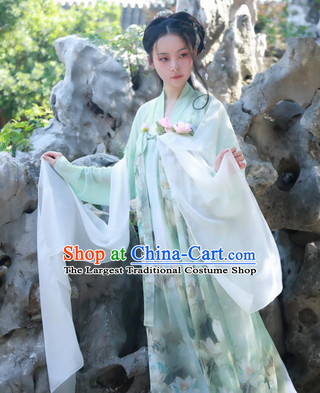 Chinese Ancient Court Maid Green Hanfu Dress Tang Dynasty Palace Lady Historical Costumes for Women