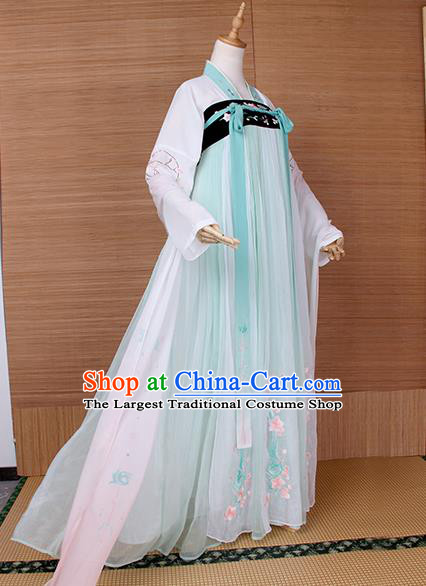 Top Grade Chinese Cosplay Princess Costumes Ancient Tang Dynasty Palace Lady Green Dress for Women