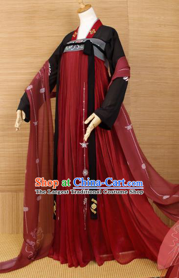 Top Grade Chinese Cosplay Princess Costumes Ancient Tang Dynasty Palace Lady Red Dress for Women