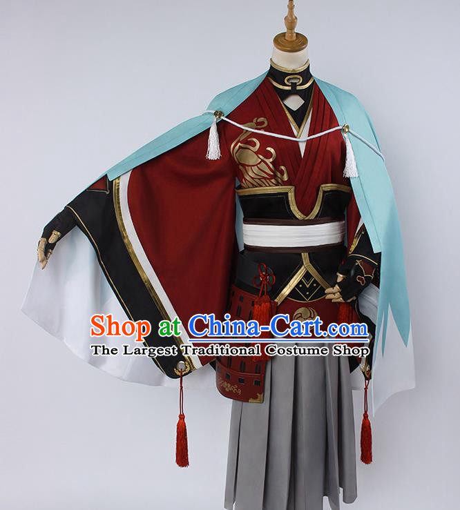 Chinese Traditional Cosplay Knight Red Costumes Ancient Swordsman Clothing for Men