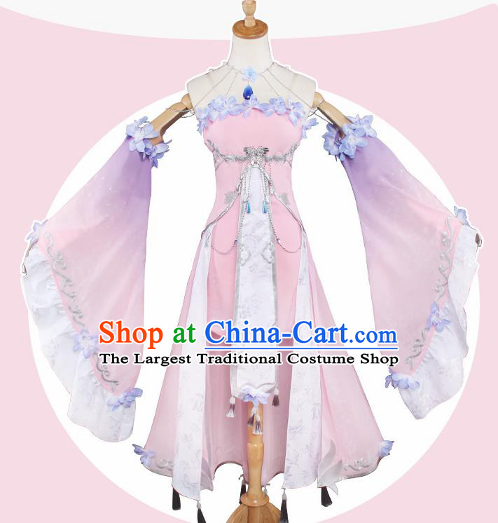 Top Grade Chinese Cosplay Peri Princess Costumes Ancient Swordswoman Pink Dress for Women