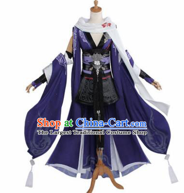 Top Grade Chinese Cosplay Female Assassin Costumes Ancient Swordswoman Purple Dress for Women