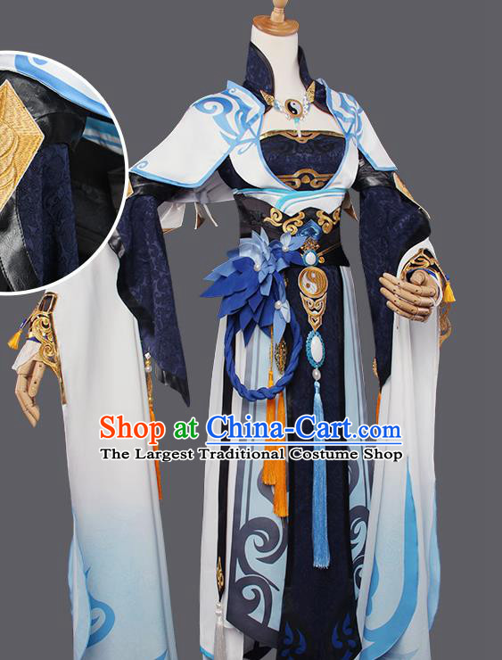 Top Grade Chinese Cosplay Taoist Nun Costumes Ancient Swordswoman Golden Dress for Women