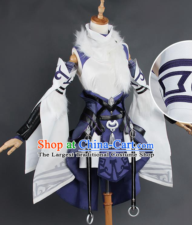 Top Grade Chinese Cosplay Costumes Ancient Swordswoman Purple Dress for Women