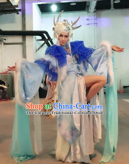 Top Grade Cosplay Fairy Costumes Chinese Ancient Female Swordsman Dress for Women