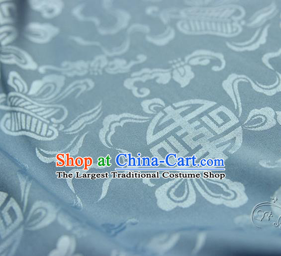Asian Chinese Traditional Light Blue Silk Fabric Ancient Hanfu Jacquard Brocade Fabric Drapery Material