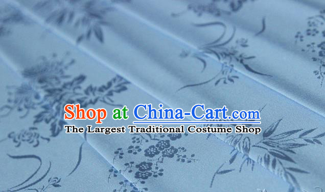Asian Chinese Traditional Pattern Light Blue Silk Fabric Ancient Hanfu Jacquard Brocade Fabric Drapery Material