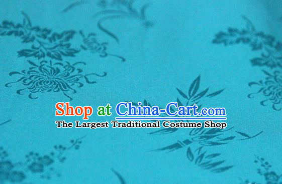 Asian Chinese Traditional Pattern Lake Blue Silk Fabric Ancient Hanfu Jacquard Brocade Fabric Drapery Material