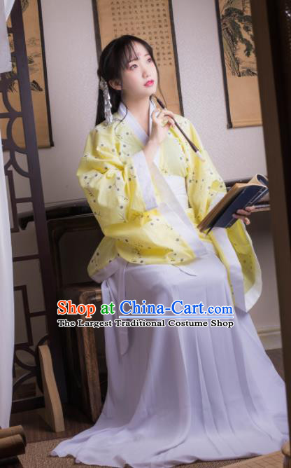 Chinese Ancient Peri Yellow Hanfu Dress Han Dynasty Princess Costumes for Women