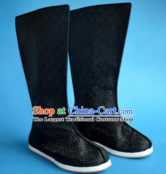 Chinese Traditional Beijing Opera Takefu Shoes Ancient Qing Dynasty Emperor Black Satin Boots for Men