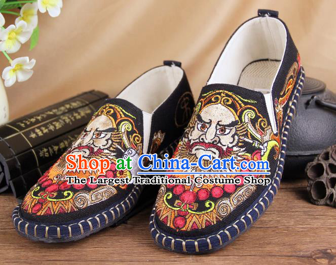 Chinese National Shoes Traditional Multi-layered Cloth Shoes Black Embroidered Shoes for Men