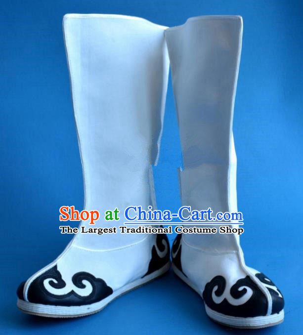 Chinese Traditional Beijing Opera Takefu Shoes Ancient Taoist Swordsman White Boots for Men