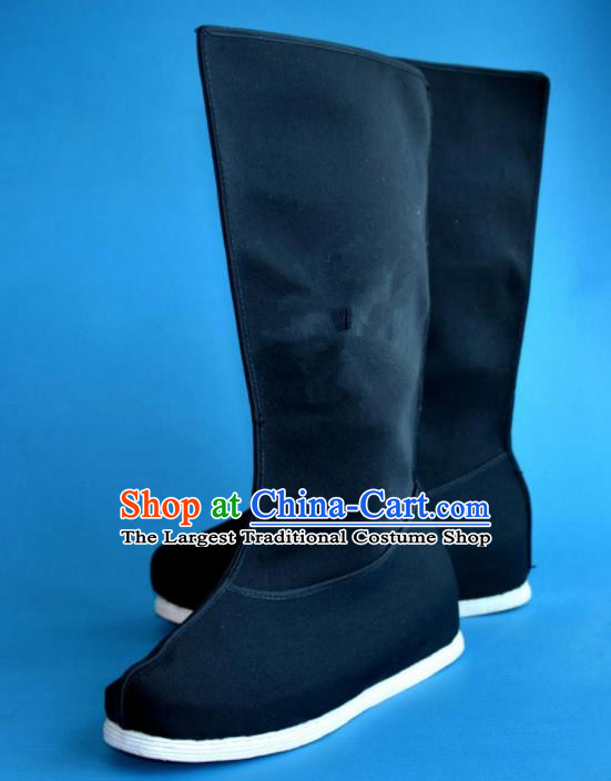 Chinese Traditional Beijing Opera Takefu Shoes Ancient Swordsman Black Cloth Boots for Men