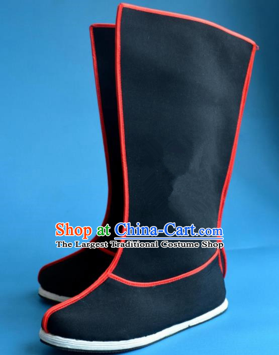Chinese Traditional Beijing Opera Takefu Cloth Shoes Ancient Swordsman Black Boots for Men
