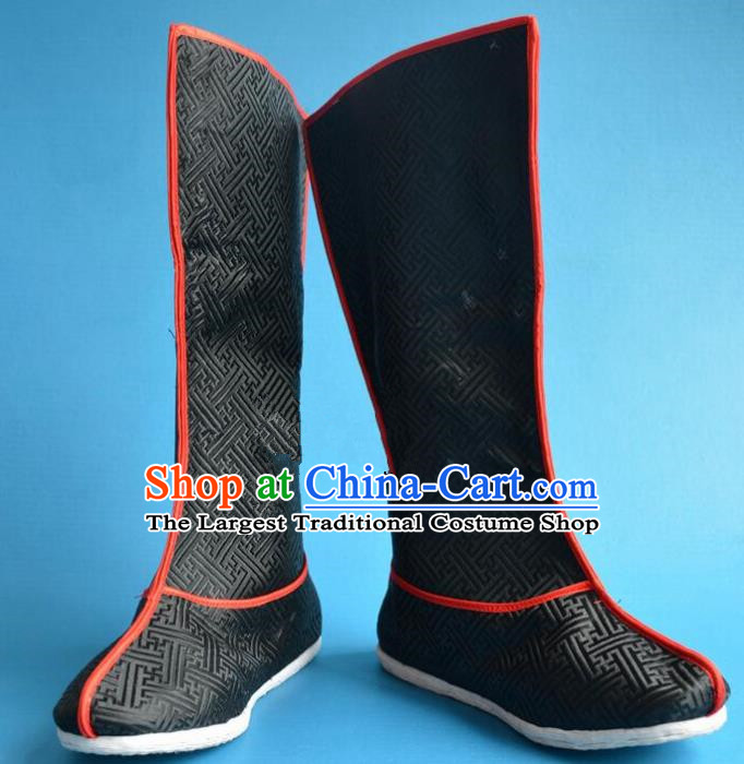 Chinese Traditional Beijing Opera Takefu Shoes Ancient Qing Dynasty Prince Black Satin Boots for Men