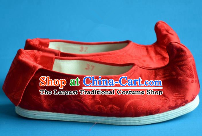Chinese Ancient Handmade Cloth Shoes Traditional Tang Dynasty Princess Shoes Embroidered Red Shoes for Women