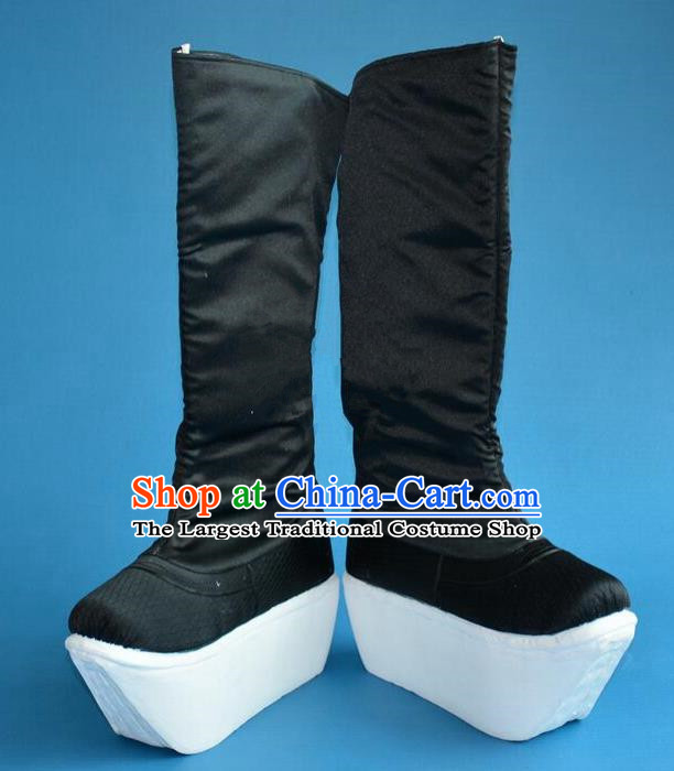 Chinese Traditional Beijing Opera Shoes Ancient Qing Dynasty Chancellor Black Boots for Men