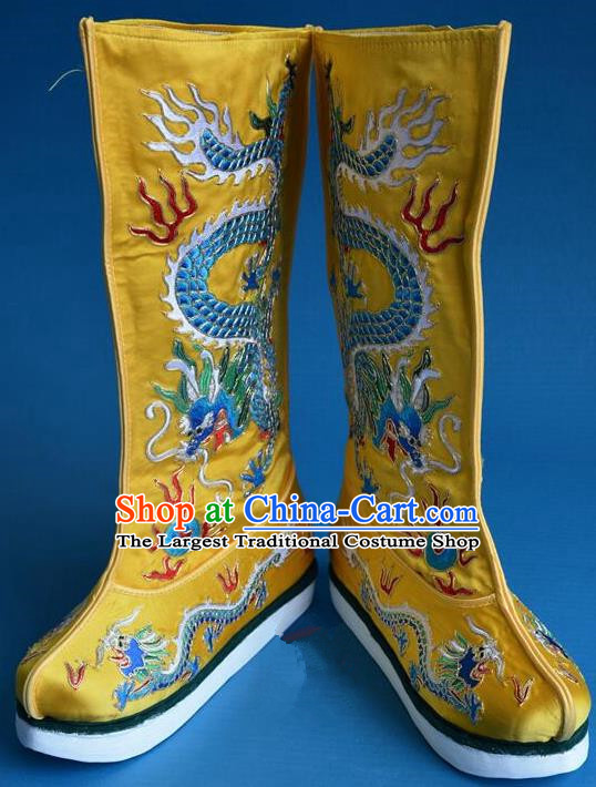 Chinese Traditional Beijing Opera Shoes Ancient Qing Dynasty Emperor Embroidered Boots for Men
